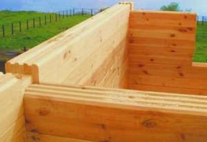 Нафото— возведение постройки изпрофилированного бруса.
